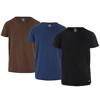 Men's Lyle e Scott Maxwell 3 Pack Lounge Camisetas em preto