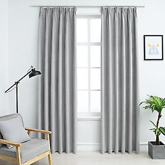 Blackout curtains with hook 2 pcs. grey 140x245cm