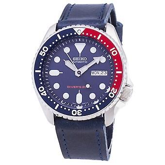 Seiko Automatico Skx009k1-ls13 Diver's 200m Dark Blue Leather Strap Men's Watch
