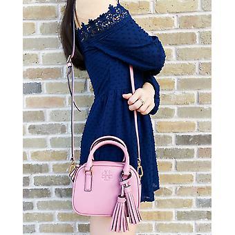 Tory burch thea mini crossbody leather satchel bag pink magnolia tassel