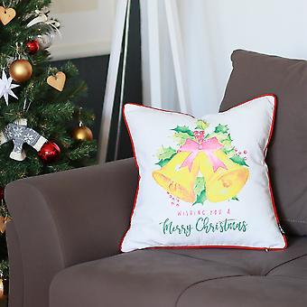 פעמוני חג המולד מודפס לזרוק כיסוי כרית