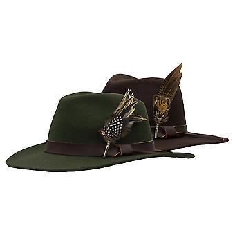 Walker e Hawkes - Unissex Richmond Fedora Crushable Felt Hat com Guarnição de Couro e Brooche