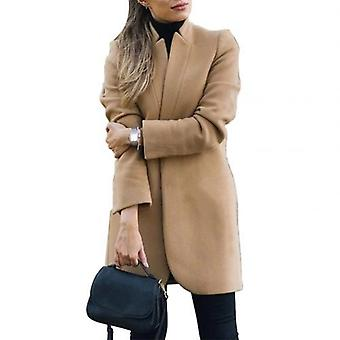 Autumn/winter Solid Color Stand Collar Women Blends Jacket Woolen Long Coat