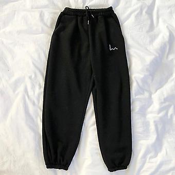 Zimní dámské harémové kalhoty, pruhy výšivky fleecové kalhoty
