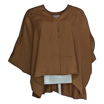 Laurie Felt Women'top V-Neck Blouse W/ High-Low Hem Brown A309541