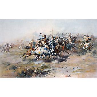 Die indische Einkreisung von General Custer in der Schlacht von Little Bighorn Custers Last Stand nach einem Werk von Charles Marion Russell PosterPrint