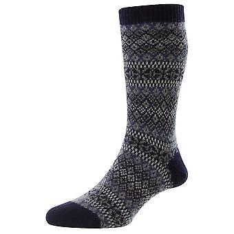 Pantherella Sherborne Fair Isle Cashmere Socks - Navy