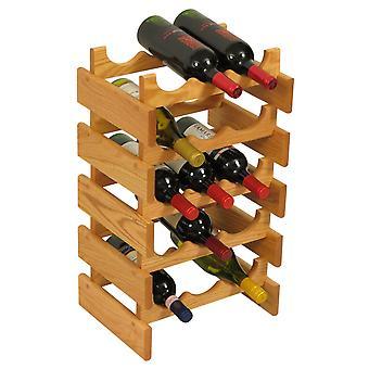 Martello di legno 15 bottiglia Dakota Wine Rack, Rovere Chiaro