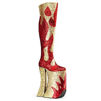 Pleaser Unisex Boots Pink Red-Gold Glitter