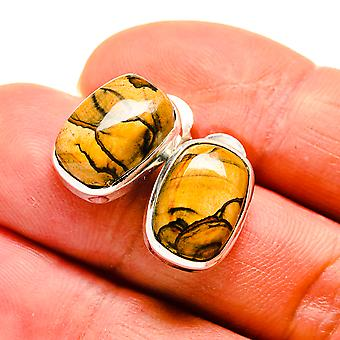 "Picture Jasper Earrings 1/2"" (925 Sterling Silver)  - Handmade Boho Vintage Jewelry EARR411578"