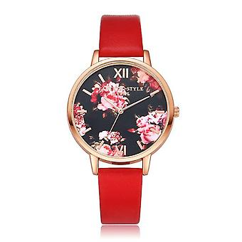 LVPAI P086 Flower Display Elegant Design Ladies Wrist Watch PU Leather Band Qua