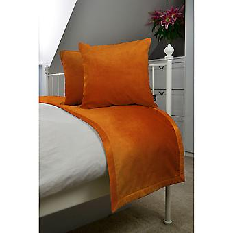 Matt burnt orange velvet bedding set