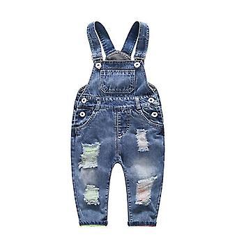 Denim ολόσωμη φόρμα τρύπα κουμπί τιράντες τιράντες παιδιά παιδί τζιν παντελόνι /παντελόνι