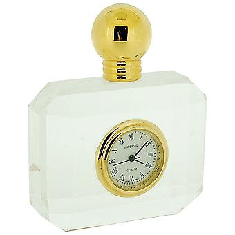 GTP LadiesMiniature Gold Plated Crystal Perfume Bottle Novelty Collectors Clock IMP506a