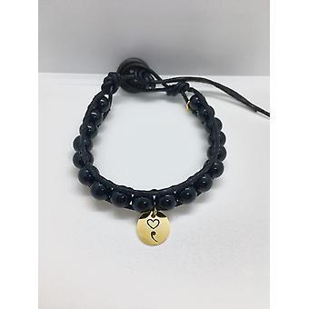 Black Mental Health Bracelet With A Semicolon