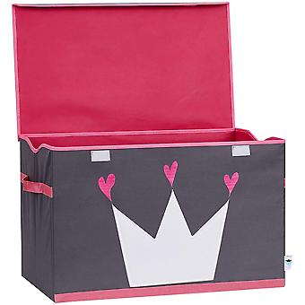 Store It 670407 Spielzeugtruhe, Polyester, Krone - grau/wei/pink, 62 x 37,5 x 39 cm