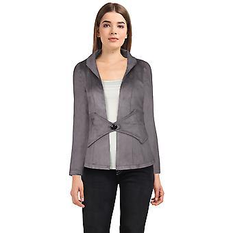 Elegante chaqueta de ante estrella plus size en gris