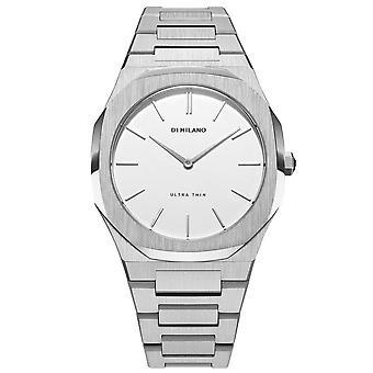D1 Milano D1-utbl01 Reloj de señoras de acero inoxidable ultra delgado y blanco y plata