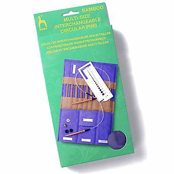 Ponin neuletapit: Pyöreä: Vaihdettavissa: Bambu: Kangaskotelo: Monikokoinen
