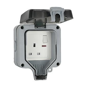 WATERPROOF OUTDOOR 13A 1 GANG SWITCHED SINGLE SOCKET IP66 WEATHER STORM PROOF