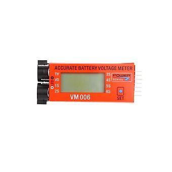 Power Genius 1-6S Cells 3.7V 7.4V 11.1V 14.8V 18.5V 22.2V Battery Voltage Meter LCD Display with Low Voltage Alarm Function for RC Battery