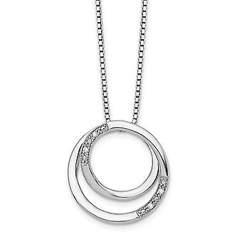 925 Sterling Sølv Polert Vår Ring Hvit Is .02ct. Diamant Halskjede 18 Tommers Smykker Gaver Til Kvinner