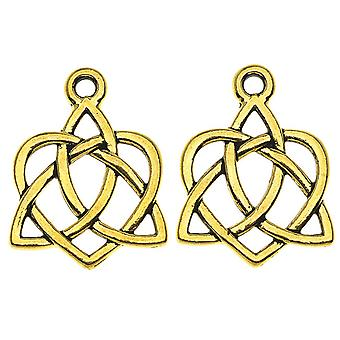 TierraCast Celtic Collection, Celtic Open Heart Charm 15.5x20.5mm, 2 Pieces, Antiqued Gold Plated