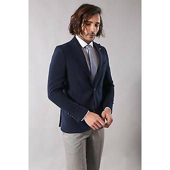 Single button pointed collar navy blue blazer