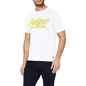 MUSTANG Alex C Print T-Shirt, Vit (Allmänt Vit 2045), XX-Stora Män