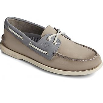 Sperry A/o 2-eye Tumbled/nubuck Mens Leather Boat Shoes Grey