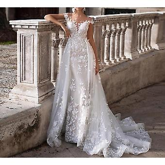 Lindo appliques trem destacável Princesa Vestido de Noiva