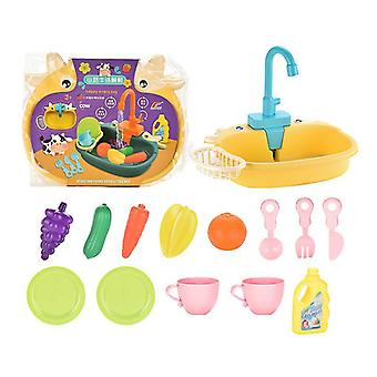 Yellow cute children's kitchen pretend play toyscookware pots and pans toy set x3687