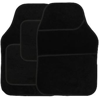 Streetwize Velour Carpet Mat Sets with Binding - 4 Piece Black/Black