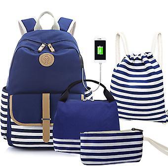4 szt/ zestaw studencka torba na lunch z plecakiem na świeżym powietrzu
