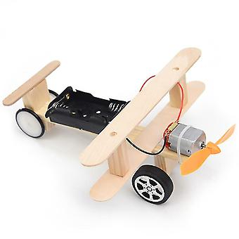 Wood electric aircraft glider diy kit kids toy for children flying assembled experiment building