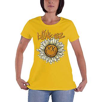Blink 182 T Shirt Sunflower Band Logo new Official Womens Skinny Fit Yellow