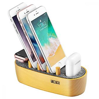 Ts071 5 In 1 Wooden Charging Stand Charging Dock Compatible With Airpods Iwatch Iphone Ipad Orange