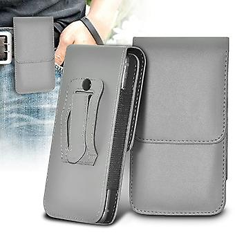 (Grey) BLU Dash L3 Case Vertical PU Leather Belt Holster Pouch Cover