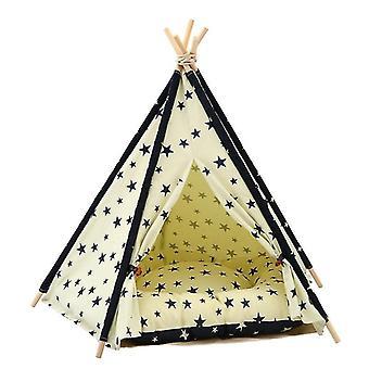 Puuvillakangas lemmikki teltta kissa ja koiran sänky tyynyllä, tekniset tiedot: Suuri 60×60×70cm (Beige Navy