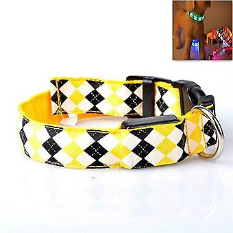 Plaid Pattern Rechargeable LED Glow Light Leads Pet Dog Collar for Small Medium Dogs,
