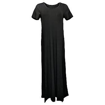 Cuddl Duds Dress Flexwear Short-Sleeve Maxi Black A373536