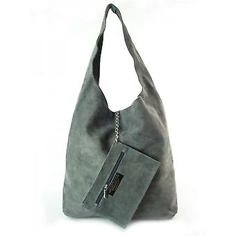 Vera Pelle Zamsz Shopper Bag XL A4 W456G everyday  women handbags