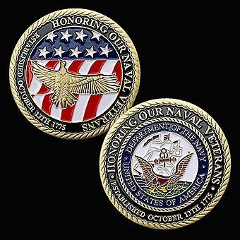 American Pirates Painted Bronze Vergoldete Gedenkmünze Sammlung Münze Geprägter Adler Gold Münze Gedenkmedaille