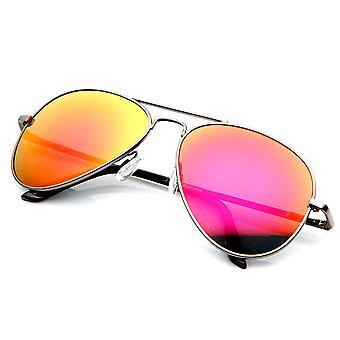 Premium clásica estructura metálica espejo Flash lente aviador gafas de sol