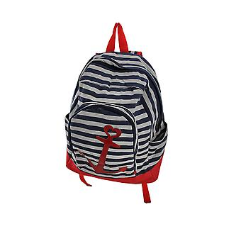 Red White and Blue Striped Nautical Anchor Backpack