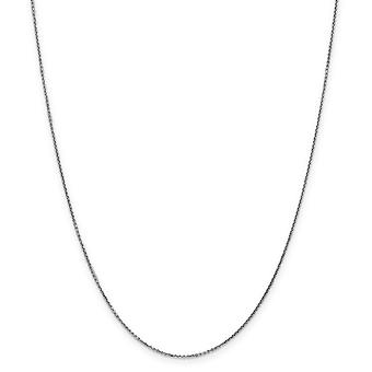 14k Vit Gold Hummer Claw Stängning 0,95mm fast sparkle Cut kabelkedja halsband - Längd: 14 till 26