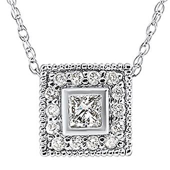 1 / 3ct Diamond Princess Cut Halo Ciondolo Vintage 14K White Gold