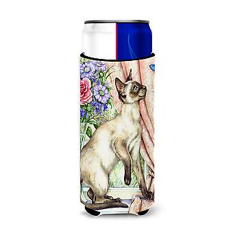 Siamese cat with Butterfly Ultra Beverage Insulators for slim cans