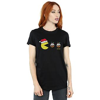 Pacman Women's Christmas Puddings Boyfriend Fit T-Shirt