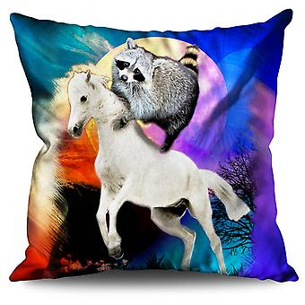 Horse Racoon Space Linen Cushion 30cm x 30cm | Wellcoda